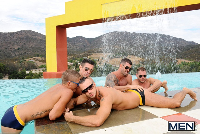 Poolside orgy with Philip Aubrey, Adam Killian, Jessie Colter, Trenton Ducati and Hans Berlin