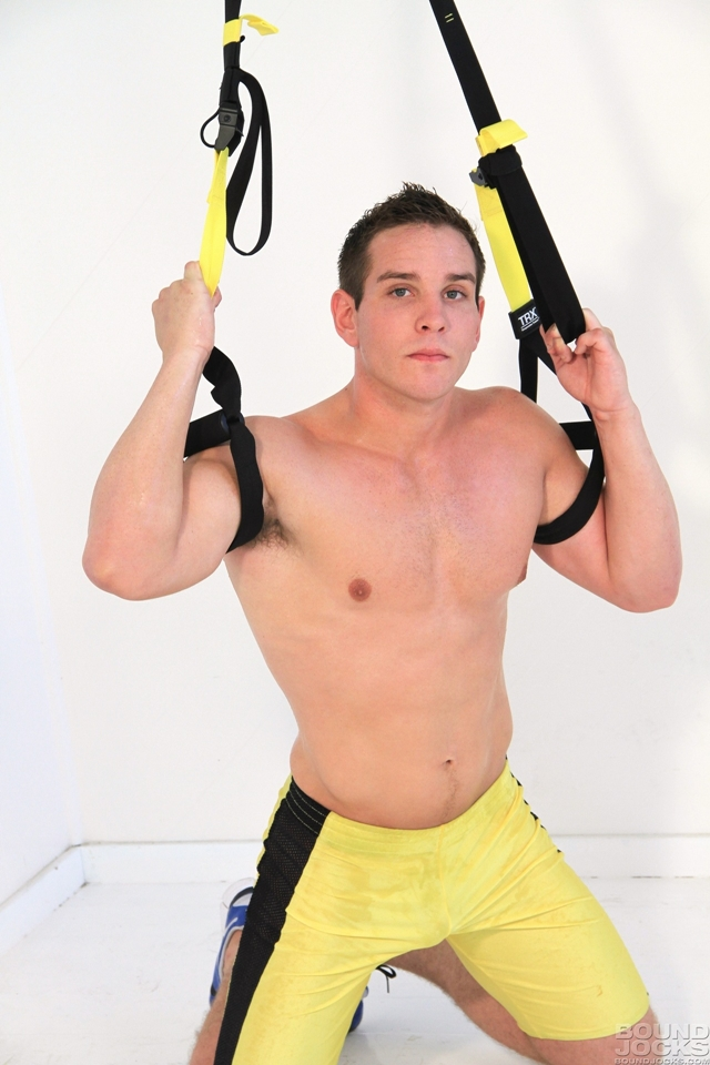 Tied and bound gay hunk Dylan Roberts at Bound Jocks