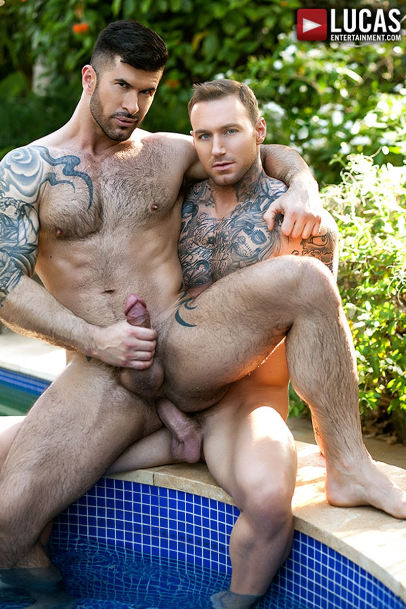 Dylan James is already on his knees sucking on Adam Killian's fat cock