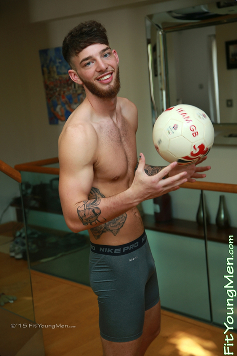 Sexy 19 year old footballer Aaron Kent strips down to his sexy undies
