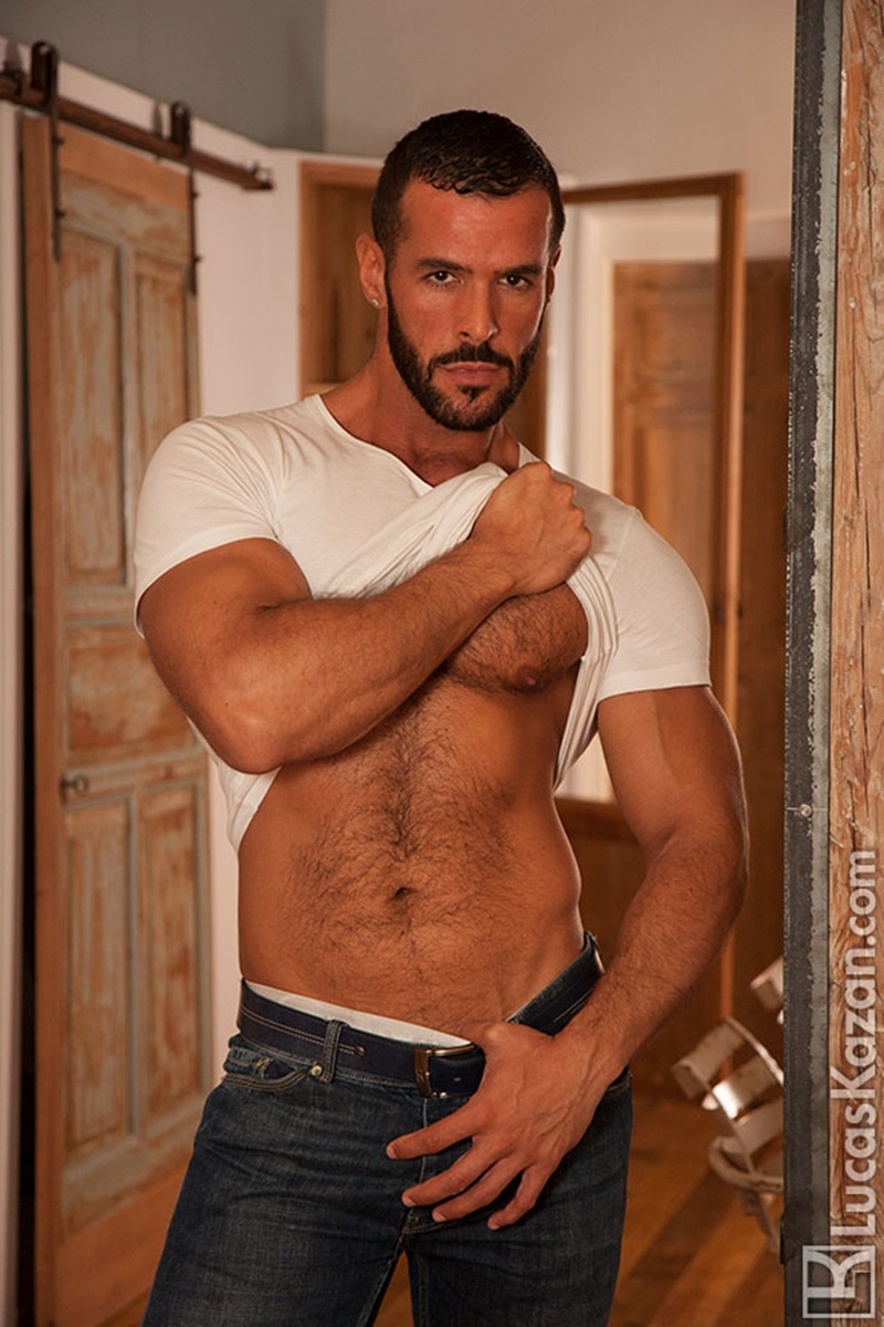 Swarthy hairy chested Spaniard Denis Vega