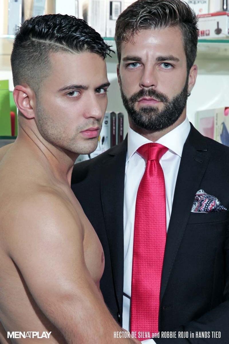 Robbie Rojo gets on his knees and helps himself to Hector de Silva's huge uncut Spanish dick