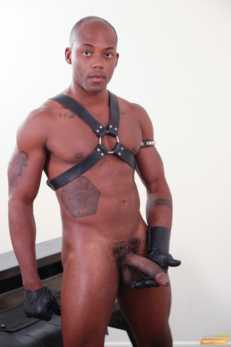 Caleb King sucks Osiris Blade's stiff black cock hoping to please his dungeon master