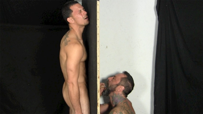 StraightFraternity Victor strips nude glory hole muscular body big thick long uncut dick cocksucking cock sucker young man sucked dry 001 gay porn sex gallery pics video photo - Victor moans loudly as he gets his veiny, uncut cock sucked dry