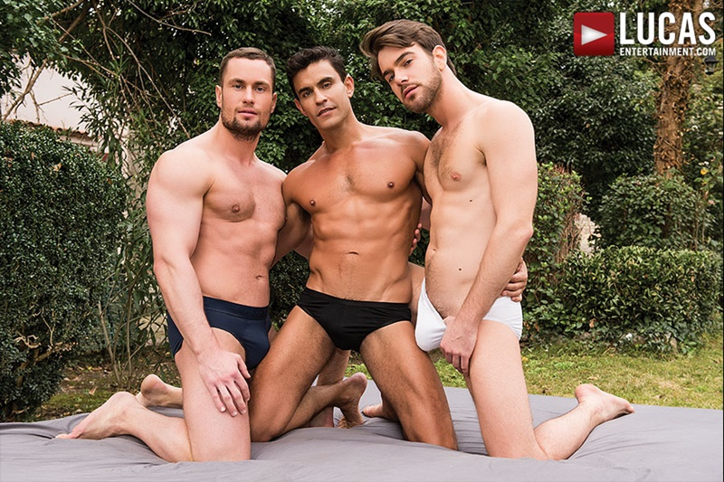 Zander Craze and Rafael Carreras take turns bareback fucking Stas Landon's tight raw asshole
