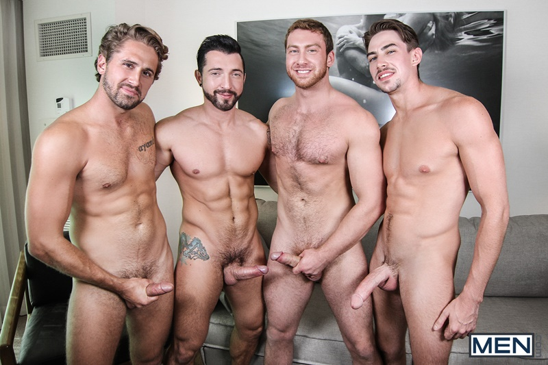 Naked sexy gay men orgy with Connor Maguire, Jimmy Durano, Jack Hunter and Wesley Woods