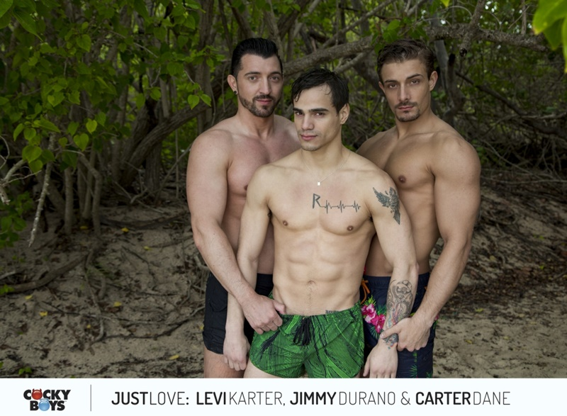 Cockyboys hot threesome between Jimmy Durano, Carter Dane and the very lovable Levi Karter
