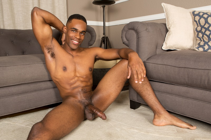 Sean Cody sexy black naked muscle hunk Edison jerks his huge ebony dick