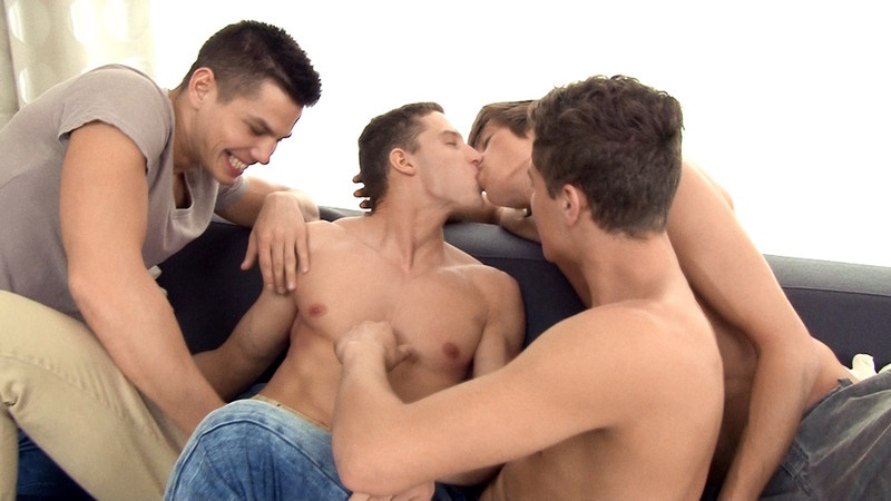 Freshmen bareback orgy Jon Kael, Helmut Huxley, Dylan Maguire and Adam Archuleta