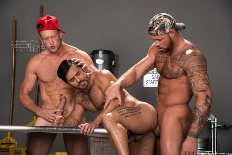 Hot naked men threesome Bruno Bernal, Michael Roman and Pierce Paris hardcore ass fucking