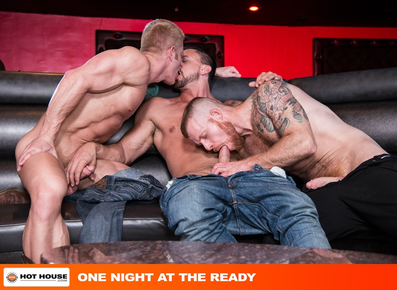 Hot naked men trio Dakota Rivers, Johnny V and Jack Vidra hardcore ass fucking