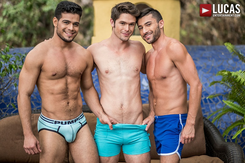 Devin Franco barebacks Rico Marlon and Scott Demarco's huge raw cocks