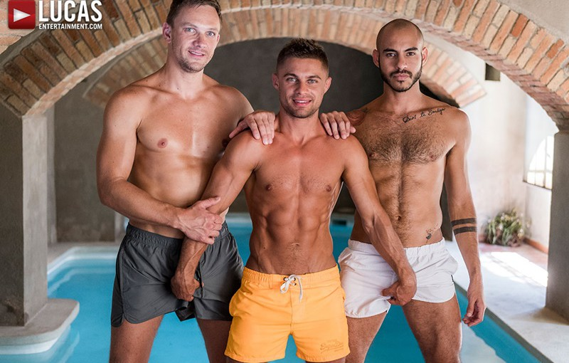 Sexy muscle hunks Andrey Vic and Patrick Dei double fuck Klim Gromov's smooth asshole
