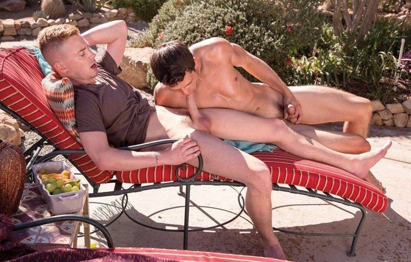 Kyler Ash rims horny stud Carter Michaels' hot butt hole getting it ready for his big dick