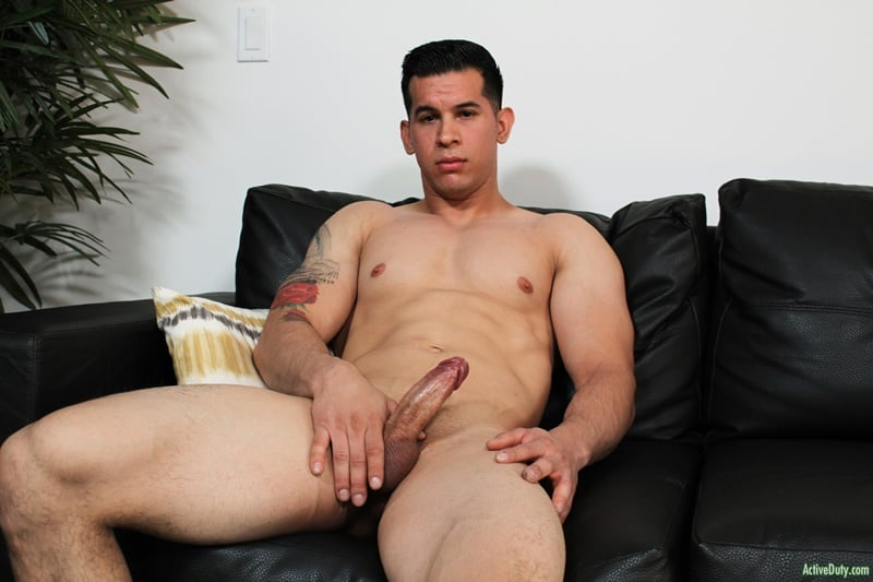 Hot young muscled dude RJ jerks his huge cock to a massive load of cum