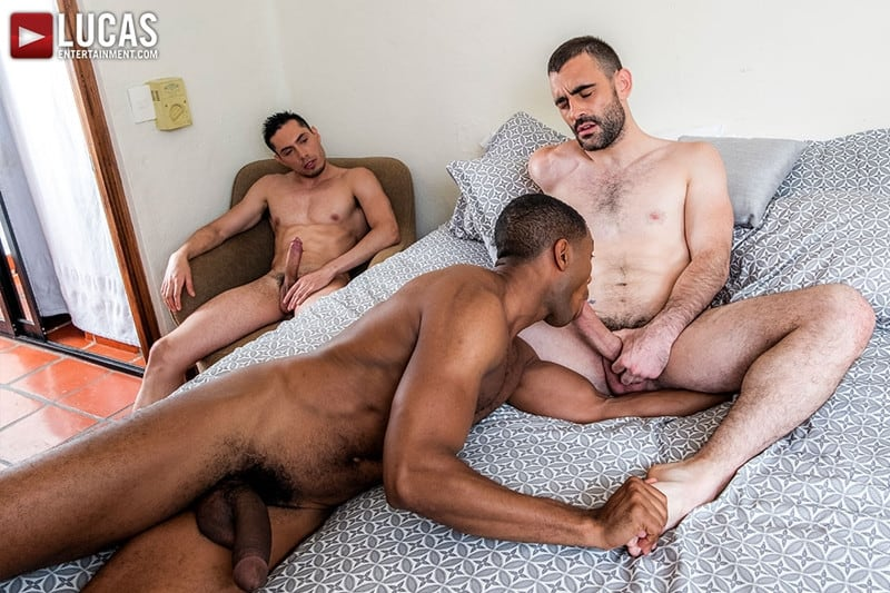 Men for Men Blog Ashton-Labruce-Sean-Xavier-Boy-Friend-Max-Arion-anal-fucked-huge-11-inch-cock-LucasEntertainment-015-gay-porn-pictures-gallery Ashton Labruce sits watching and stroking while BF Max Arion fucks black beauty Sean Xavier hot asshole Lucas Entertainment