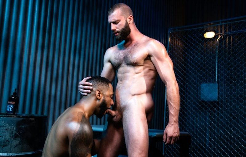 Sexy booted black stud Jaxx Maxim dominates Donnie Argento licking his ass crack ready for his big ebony dick