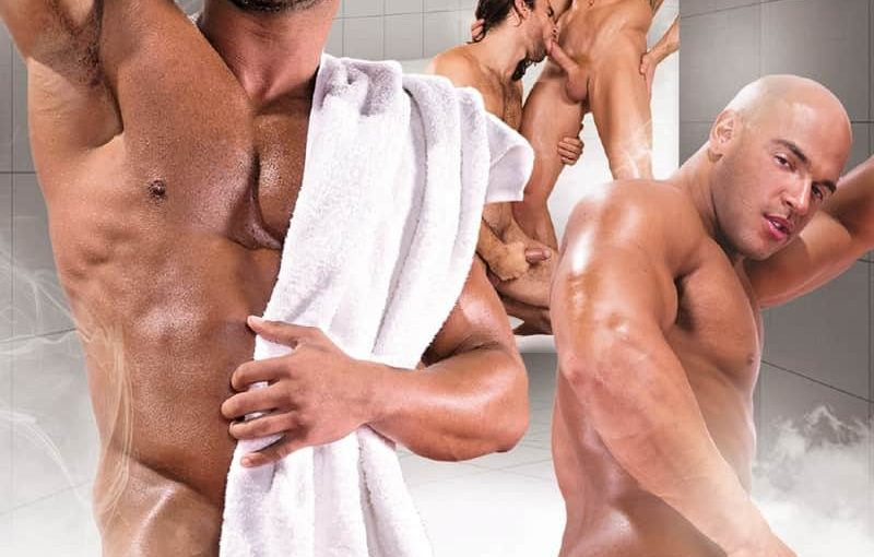 Sexy muscle dudes Woody Fox and Johnny V hardcore anal fucking in Bathhouse Ballers