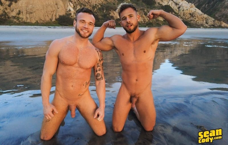Sexy young muscle studs Sean and Josh bareback flip flop ass fucking ends swapping creampies
