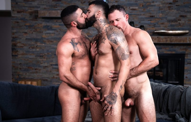Hardcore gay bareback ass fucking threesome Rikk York, Sharok and Jesse Zeppelin