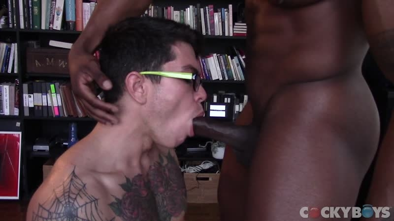 Hot black muscle stud Max Konnor's giant cock fucking Clark Davis' hot bubble butt