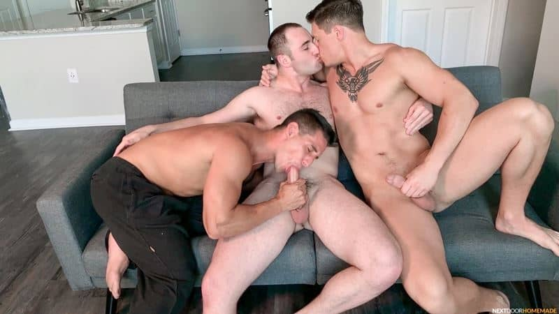 Dalton Riley's huge cock fucks Michael Boston's hot asshole whilst Jax Thirio fucks his face