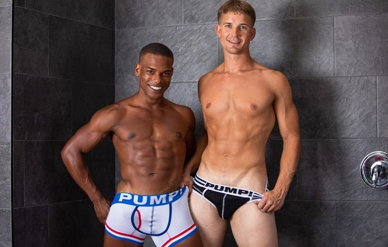 Interracial gay anal sex Brandon Anderson and Adrian Hart flip flop ass fucking