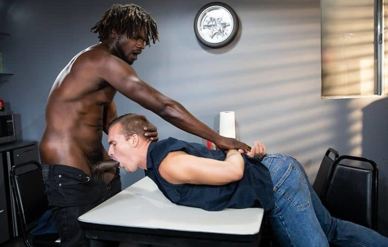 Big black muscle stud Devin Trez's massive cock bareback fucks Isaac X's tight bubble ass hole