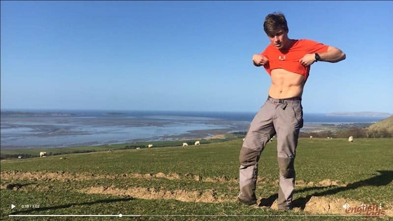 Hot young straight rock climber Henry Kane sneaky outdoor wanking his big uncut dick in the Welsh mountains