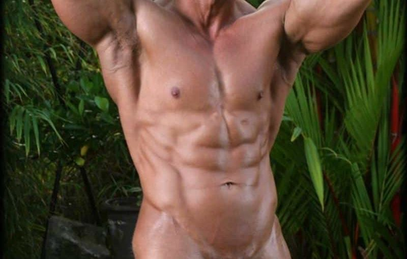 Legend Men big muscle dude Scott Taylor strips naked jerking his huge thick dick till he explodes cum all over his six pack