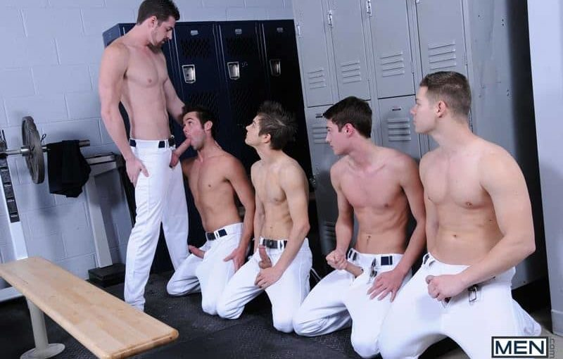 Baseball team lockeroom orgy Johnny Rapid, Riley Banks, Hunter Page and Mike De Marko's asses fucked by coach Andrew Stark