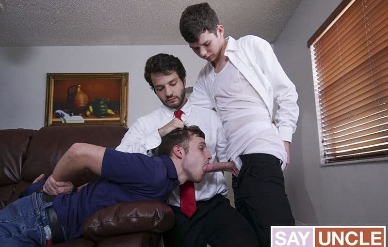 Father Dante Drackis and father Dakota Lovell's huge dicks bareback fuck young elder Jesse Avalon's hot boy ass
