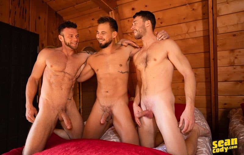 Hardcore flip flop anal orgy Sean, Josh and Justins' bareback big raw dick ass fucking threesome