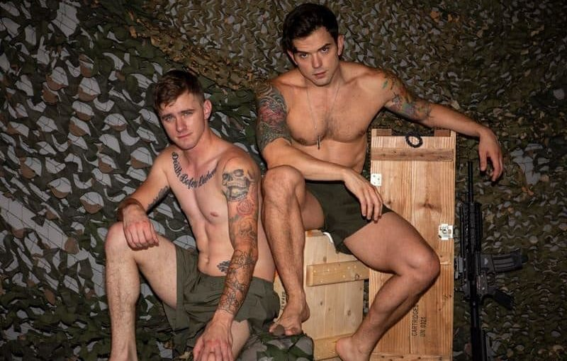 Hot military recruits Ryan Jordan and tattooed muscle Dakota Payne bareback big thick dick anal fuckfest