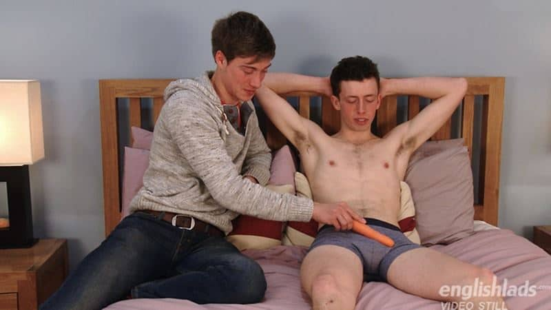 Hot sexy straight dude Jerry Manson helped by cousin Henry Kane probes his ass with vegetables