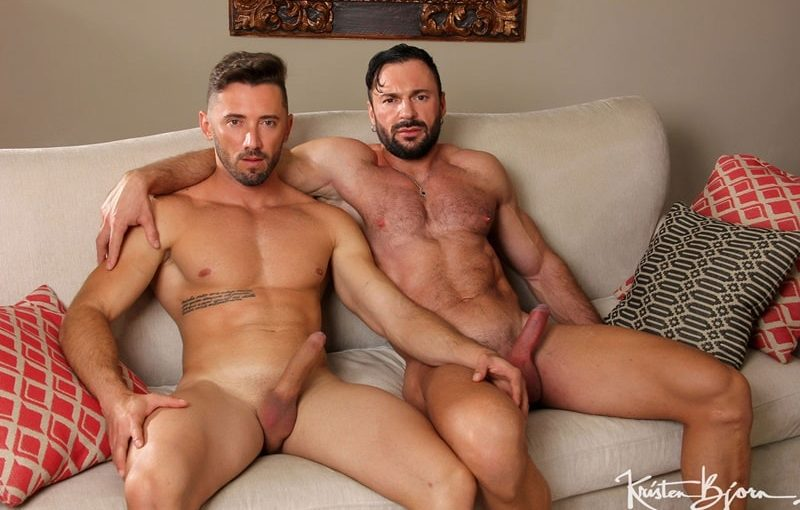 Kristen Bjorn big muscle bottom stud Cole Keller's bubble ass raw fucked by sexy hunk Marcos Oliveira's huge uncut dick